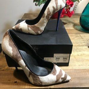 Giuseppe Zanotti Women Cowhair Blue Heel Pumps